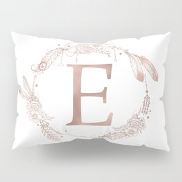 Letter E Rose Gold Pink Initial Monogram Pillow Sham