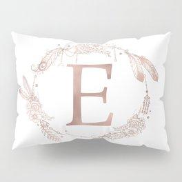 Letter E Rose Gold Pink Initial Monogram Pillow Sham