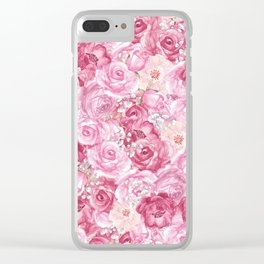 Hand painted white blush pink  coral floral Clear iPhone Case