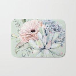 Delightful Mint + Pink Succulents Bath Mat