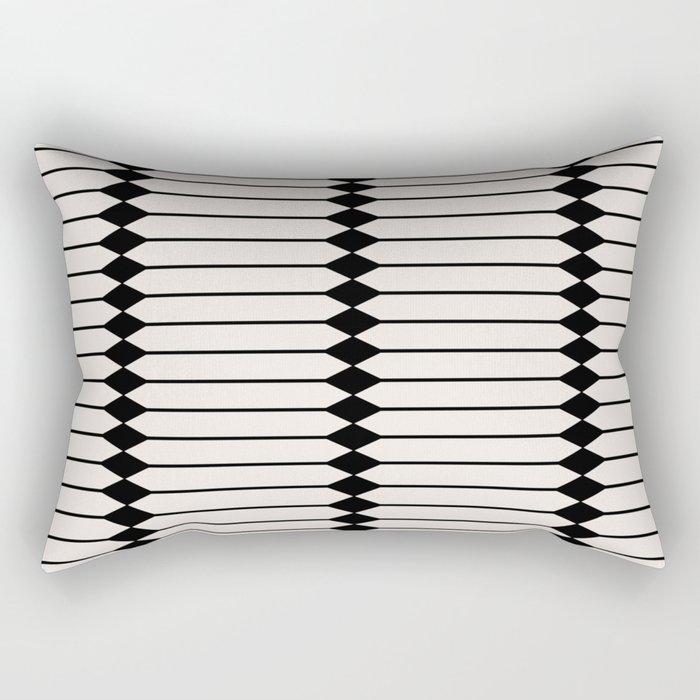 Minimal Geometric Pattern - Black and White Rectangular Pillow