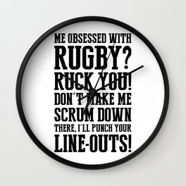 Staricons rugby typo series - Obsession Wall Clock