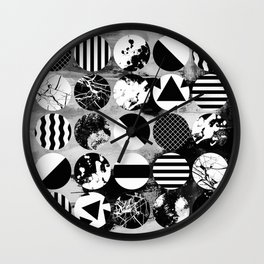 Eclectic Circles - Black and white, abstract, geometric, textured designs Wall Clock