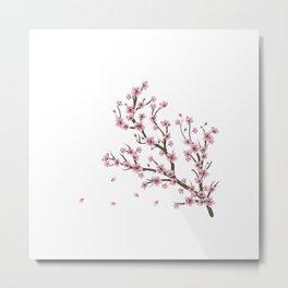 Pink Cherry Blossom Branch Sakura Metal Print
