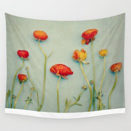 Red Ranunculus Flowers Wall Tapestry