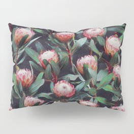 Evening Proteas - Pink on Charcoal Pillow Sham