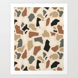 Abstract Terrazzo - Earth Tones Art Print
