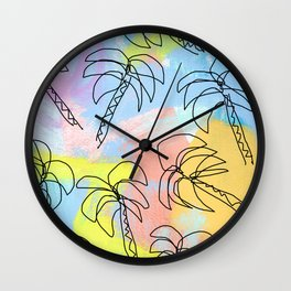 Live This Moment no.1 - illustration palm tree pattern summer tropical beach California pastel color Wall Clock