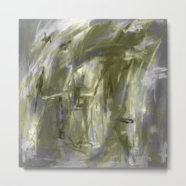 It is so Wavey Grey and Olive Green Acrylic Abstract Art Metal Print