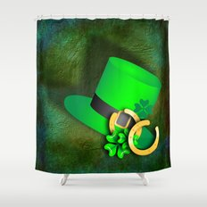 Symbols of luck on green textured background Shower Curtain