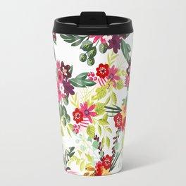 Blush pink red yellow modern hand drawn floral pattern Travel Mug