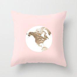 Peach Slice of the Earth Throw Pillow