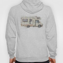 vintage camping bus painting illustration Hoody