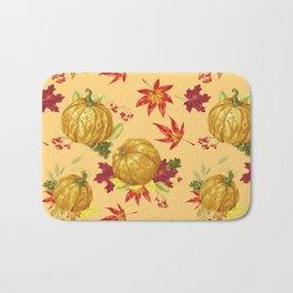 Ocher autumn pattern Bath Mat
