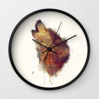 wolf Wall Clocks featuring Wolf by Amy Hamilton