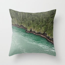 Water Meets Woods Throw Pillow