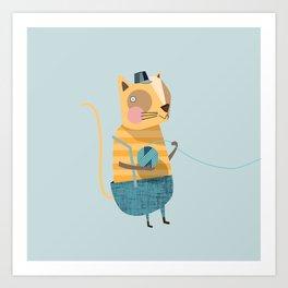Cats love Knitting Art Print