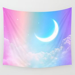 Rainbow Moon Wall Tapestry