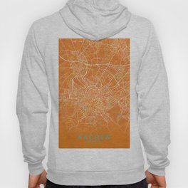 Aachen, Germany, Gold, Blue, City, Map Hoody
