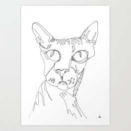 Hairless Cat - Magnificent One Art Print