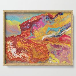 Fiery Mountain // Paint Pour Art // Blooming Life Project Serving Tray