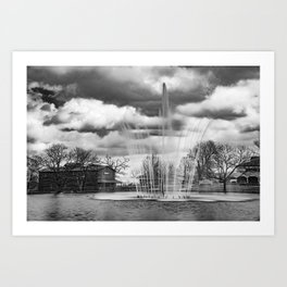 College of the Ozarks Fountain and Edwards Mill Art Print