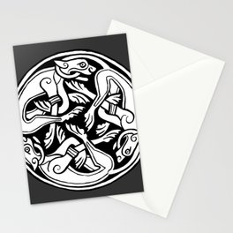 Celtic Art - Dog Triskele - on Grey Stationery Cards