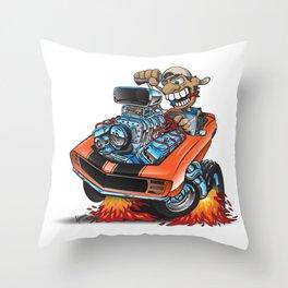 Classic '69 American Muscle Car Cartoon Throw Pillow