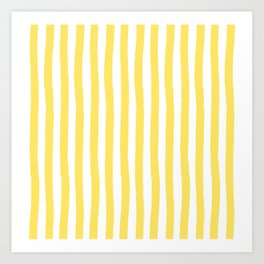 Yellow and White Cabana Stripes Palm Beach Preppy Art Print