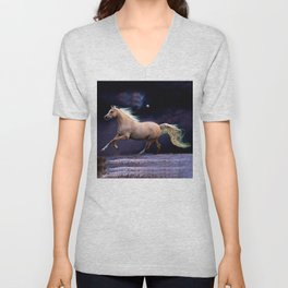 horse galloping Unisex V-Neck