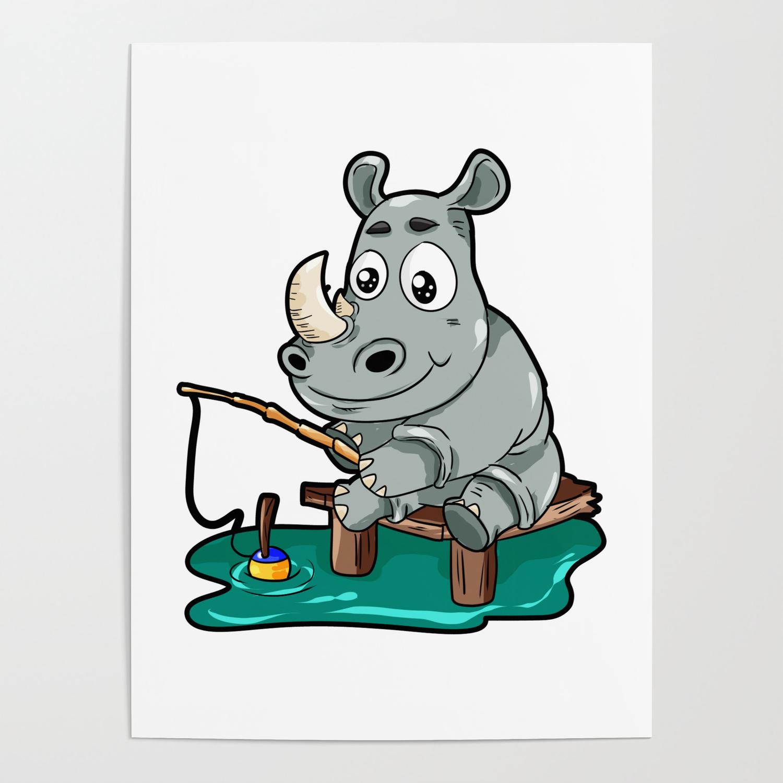 Fishing Rhino Rhinoceros Fisher Cartoon Gift Comic Poster By Moonpie90 Society6