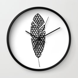 Black and White Patterned Feather Wall Clock