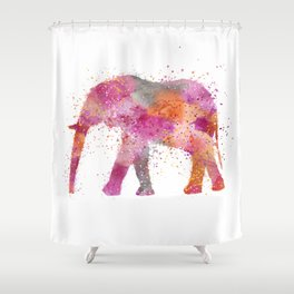 Artsy watercolor Elephant bright orange pink colors Shower Curtain