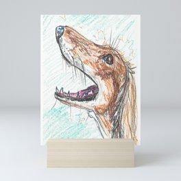 Saluki hound sketch Mini Art Print