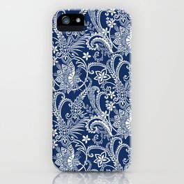 Indigo Botanical Pattern 1 iPhone Case