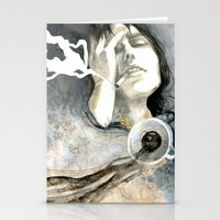 cigarettes Stationery Cards featuring Coffee & Cigarettes by Jana Heidersdorf Illustration