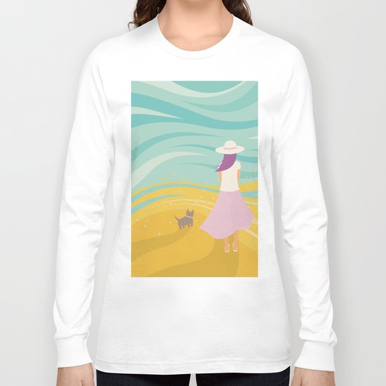 Listen to the Ocean (Girl and Cat Vector Graphic Illustration) Long Sleeve T-shirt