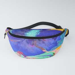 Birthday Acrylic Blue Orange Hibiscus Flower Painting with Red and Green Leaves Fanny Pack