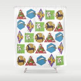 Geometric Unicorns Shower Curtain