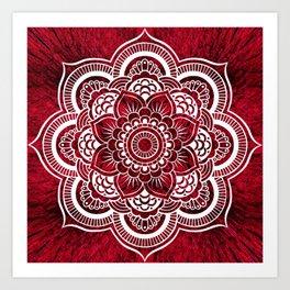Mandala Red Colorburst Art Print