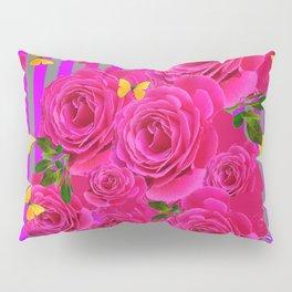 PINK GARDEN ROSES & YELLOW BUTTERFLIES MODERN ART FROM SOCIETY6   BY SHARLESART. Pillow Sham