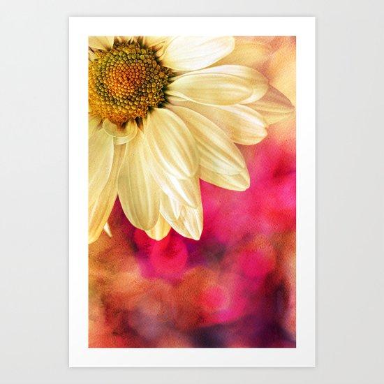 Daisy - Golden on Pink Art Print