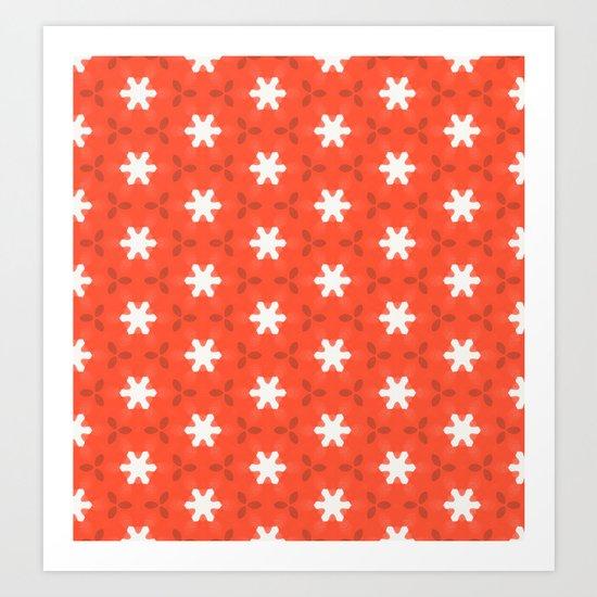 white star on red pattern Art Print