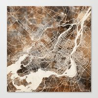 montreal Canvas Prints featuring Montreal by Map Map Maps