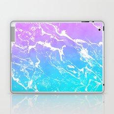 Modern summer purple blue ombre watercolor mermaid white marble Laptop & iPad Skin