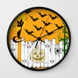 Black Cat on a Spooky Fence - Halloween Wall Clock