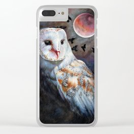 Owl Of The Blood Moon Heart Clear iPhone Case