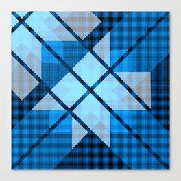 Abstract Geometric Blue Plaid Design Canvas Print