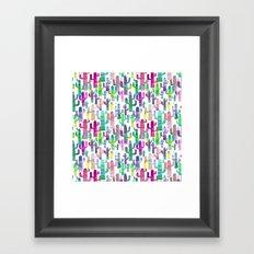 Watercolor Cacti - Pinks - Saguaros Framed Art Print