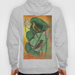 Orioles with Catalpa Tree, Natural History, Vintage Botanical Collage Hoody